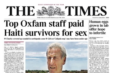 Times headline Oxfam story